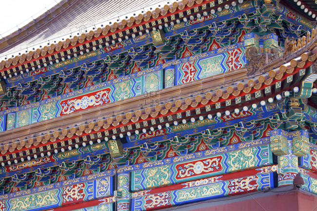 Detail of pavilion building at The Forbidden City Palace Complex, Beijing, China