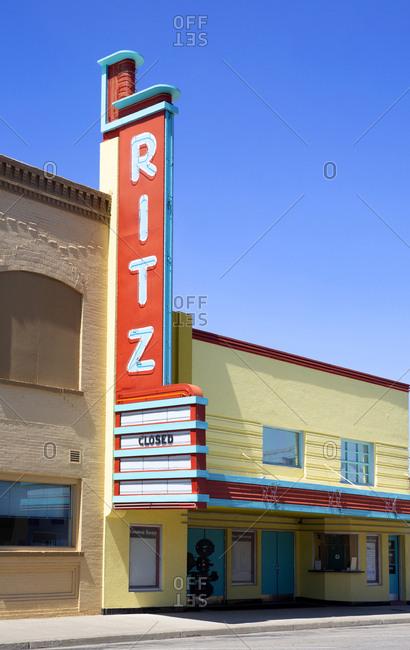 Ritzville, Washington - July 3, 2016: Ritz movie theatre closed