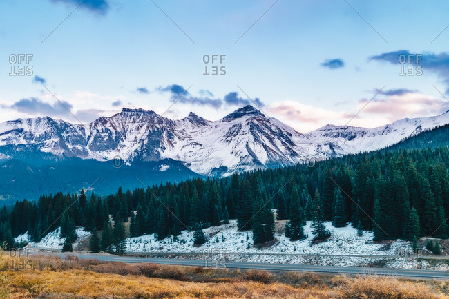 snow-capped Rocky mountains and ever green forest in Colorado