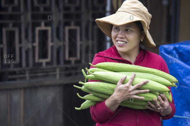 Vietnam, Quang Nam Province, Hoi An - March 6, 2018: A Vietnamese woman carries fresh ridge gourd Luffa aegyptiaca.