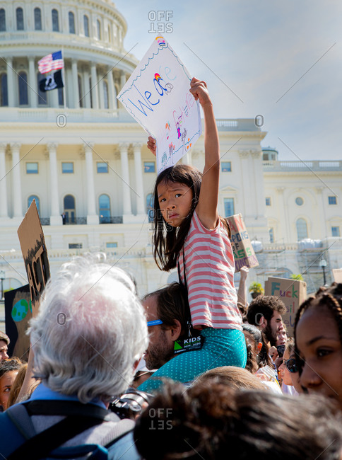United States, District of Columbia, Washington - October 3, 2019: Young Girl protests during Climate Strike in Washington DC