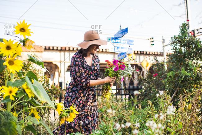 woman in urban garden picking fresh flowers