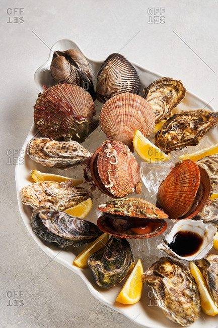 Various shellfish in dish on light background