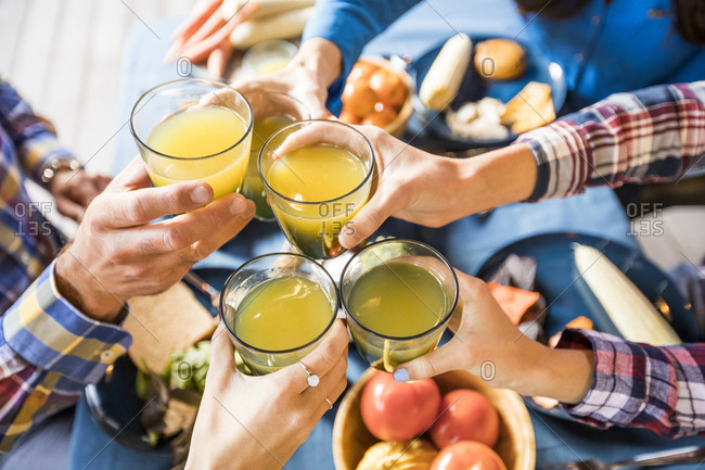 Cropped hands of happy family toasting drinks while enjoying lunch in yard