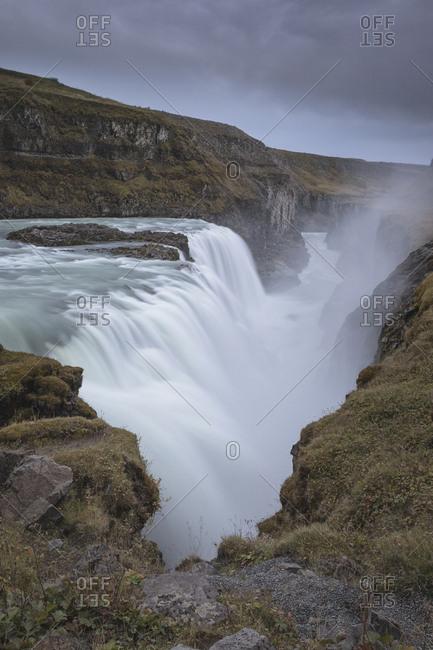 GullFoss waterfall in Iceland in long exposure