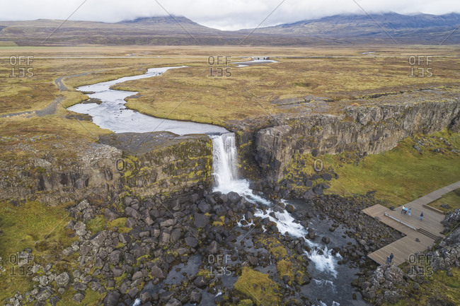Pingvellir  national park in Iceland from a aerial View