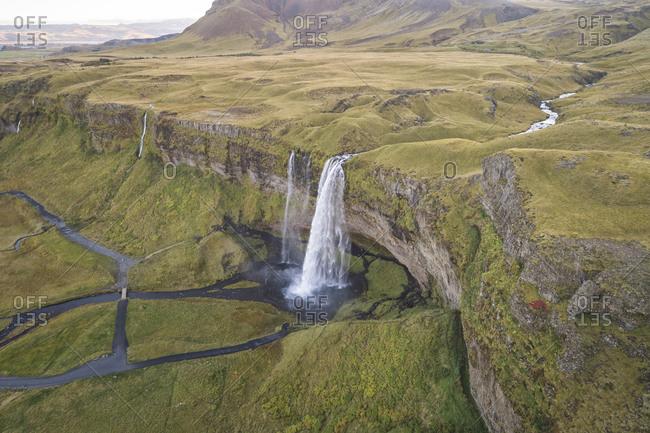 Seljalandfoss waterfall from aerial view