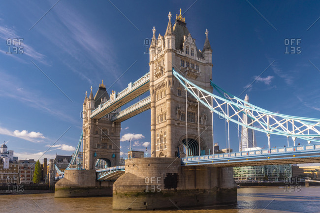 The tower bridge in a sunny day in London