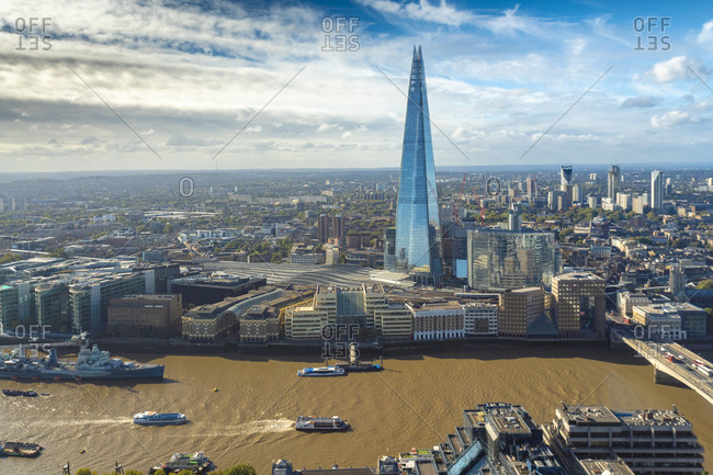United Kingdom, England, London - September 28, 2018: Cityscape of the Thames, the Shard and the skyline of the South Bank