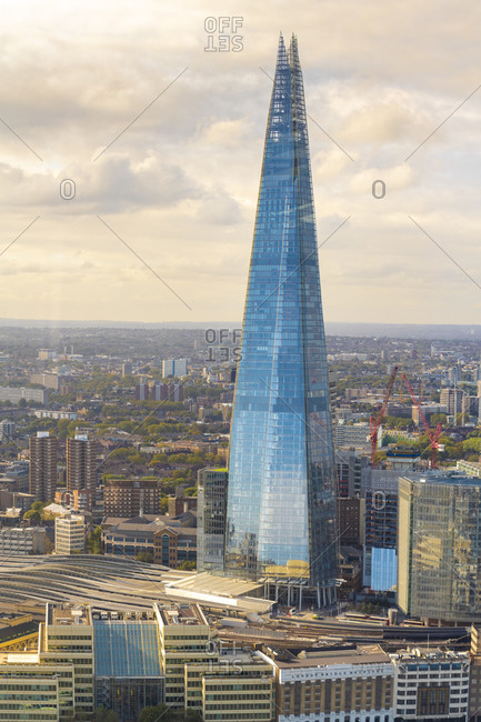 United Kingdom, England, London - September 28, 2018: The Shard with London Bridge station beneath it at the Southwark