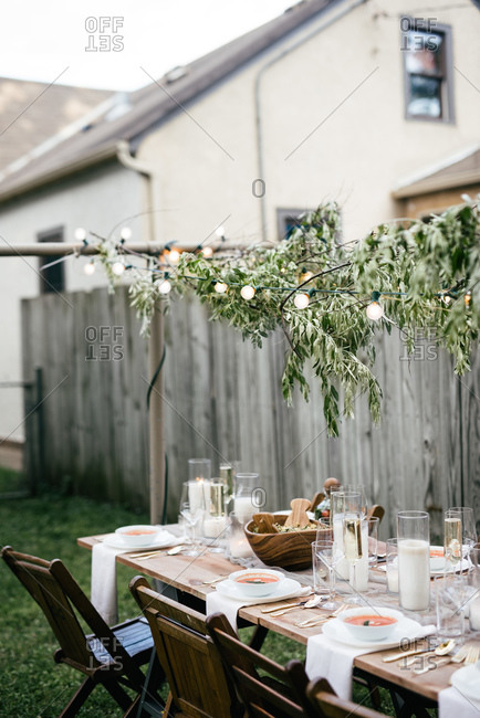 Hip backyard dinner party