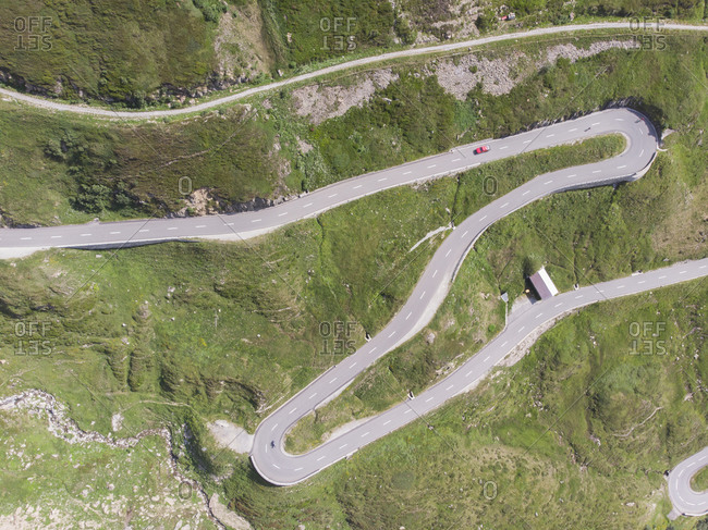 A winding and twisting road through the Swiss mountains