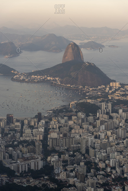 Beautiful landscape of Sugar Loaf Mountain, city buildings and ocean