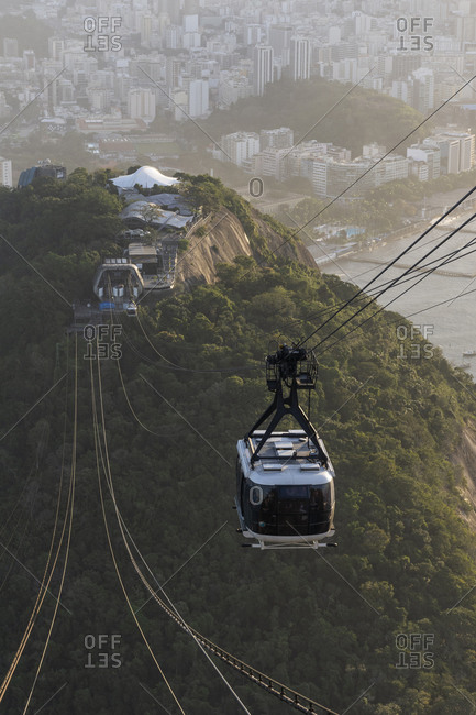 Brazil, Rio de Janeiro - July 21, 2019: Beautiful view of Sugar Loaf mountains, city, ocean and cable car