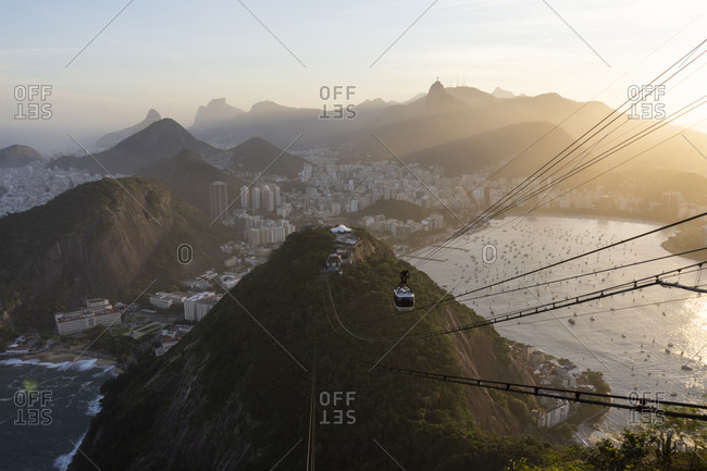 Beautiful view of Sugar Loaf mountains, city, ocean and cable car