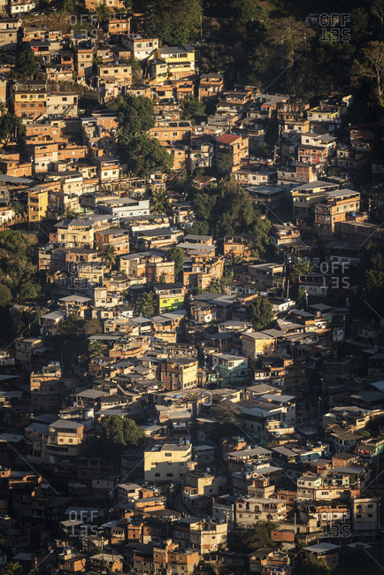 View to poor residential ghetto homes in Morro do Borel favela slum
