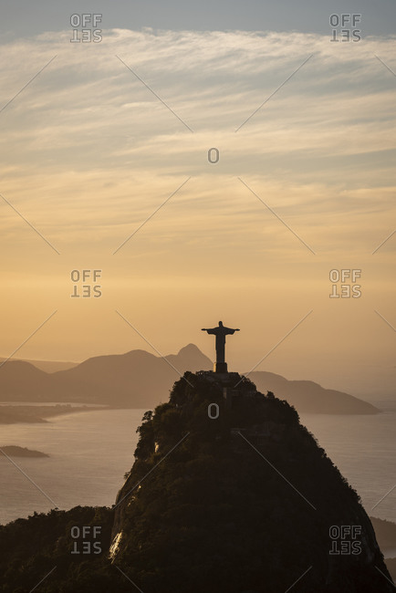 Brazil, Rio de Janeiro - August 16, 2019: Beautiful view of Christ the Redeemer statue over Corcovado mountain