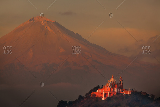The Popocatepetl with Church of Our Lady Remedy in the foreground