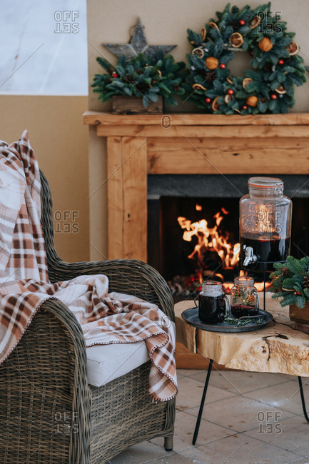 Cozy Christmas veranda with mulled wine outdoors