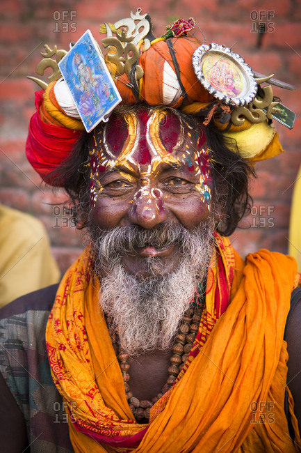 Nepal, Central Development Region, Kathmandu - October 22, 2013: A Hindu holy man, aka sadhu, at Pashupatinath temple, Kathmandu