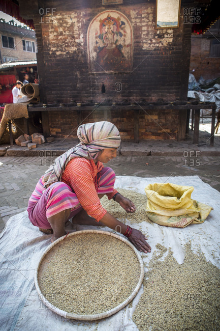 Nepal, Central Development Region, Kathmandu - October 23, 2013: A woman sorts grains in a plaza in Kathmandu, Nepal.