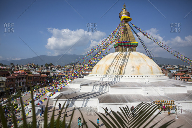 Nepal, Central Development Region, Kathmandu - October 23, 2013: Boudhanath stupa, an iconic religious site in Kathmandu, Nepal.