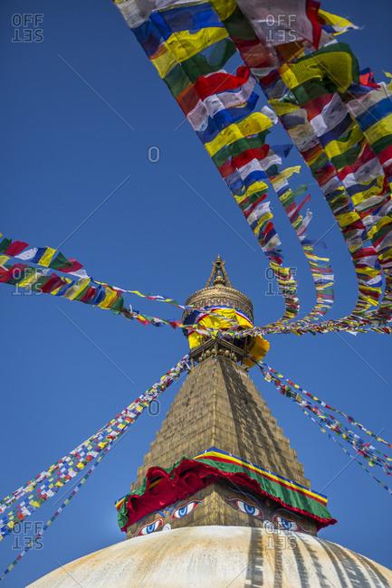 Boudhanath stupa, an iconic Buddhist site in Kathmandu, Nepal.