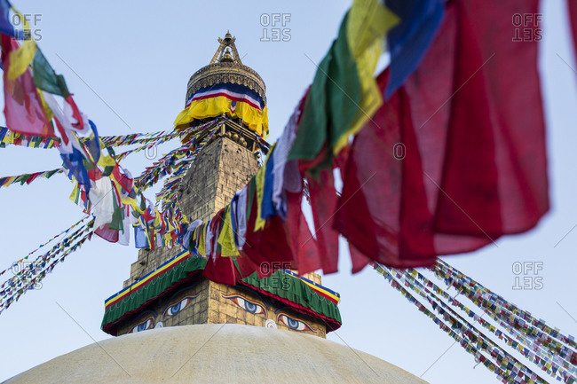 Buddhist prayer flags at Boudhanath Stupa in Kathmandu, Nepal.
