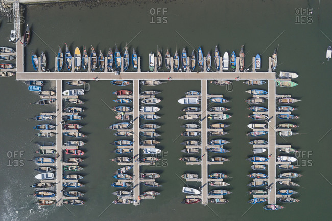 Traditional wooden boats port from Aerial View