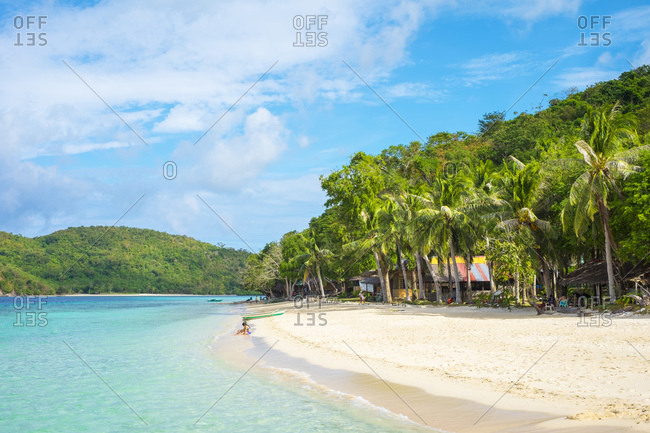 Philippines, MIMAROPA, Coron - December 22, 2014: White sand beach at Banana Island, Coron, Philippines