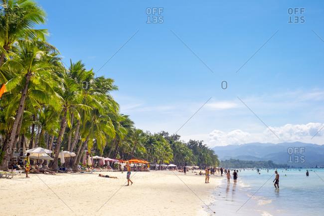 Philippines, Western Visayas, Malay - January 21, 2015: White Beach, Boracay Island, Philippines