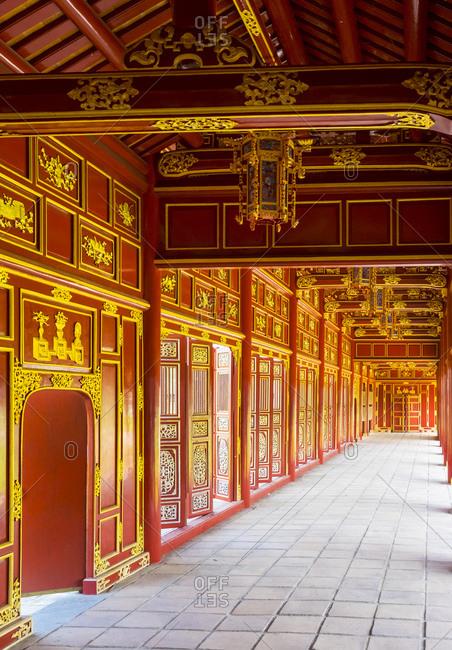 Vietnam, Thua Thien Hue, Hue - February 23, 2015: Halls of the Mandarins, Imperial City, Hue, Vietnam