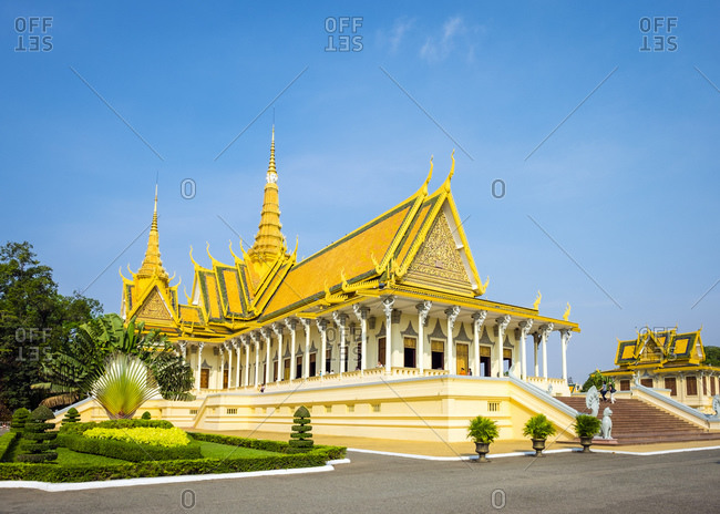 Cambodia, Phnom Penh, Phnom Penh - April 6, 2015: Throne Hall of the Royal Palace, Phnom Penh, Cambodia