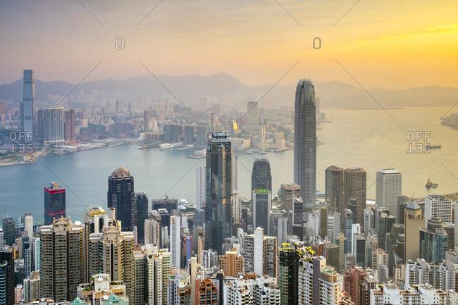 Hong Kong, Hong Kong Island, Hong Kong - December 9, 2014: Skyscrapers in central Hong Kong seen from Victoria Peak at sunrise