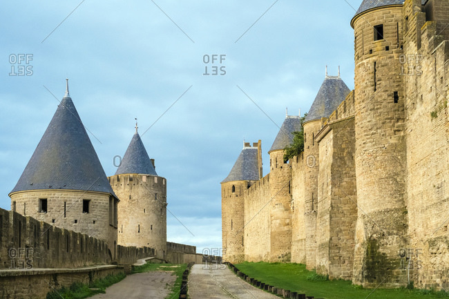 Fortified Walls Towers Carcassonne, Languedoc-Roussillon, France