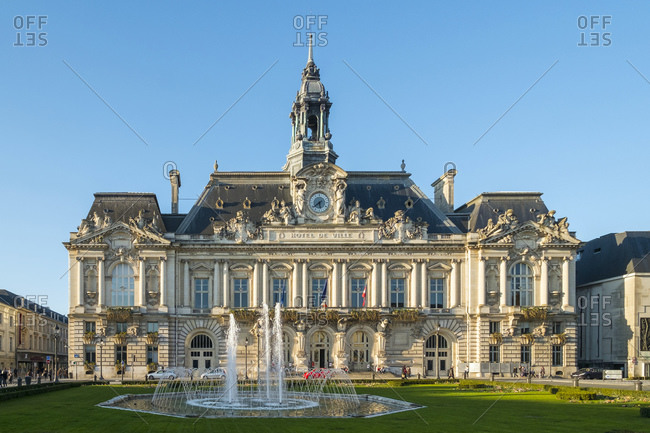 France, Centre-Val de Loire, Tours - March 6, 2014: H�tel de Ville (city hall) on Place Juan Juar�s, Tours, France