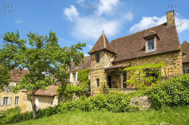 Old stone house on Rue Montaigne, Sarlat-la-Can�da, France