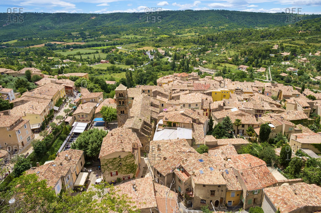 France, Provence-Alpes-Cote d'Azur, Moustiers-Sainte-Marie - July 10, 2014: High angle view of town of Moustiers-Sainte-Marie