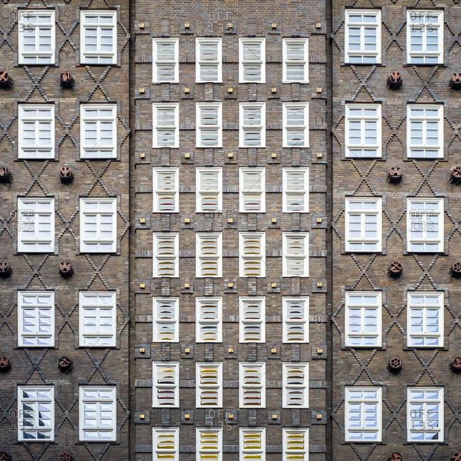 Rows of windows on exterior of Sprinkenhof, Hamburg, Germany