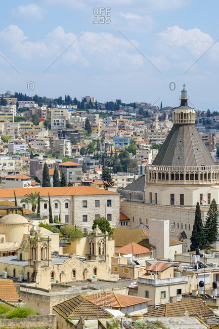 Basilica of the Annunciation, view of Nazareth, Israel.