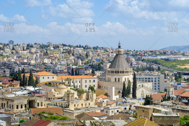 Israel, North District, Nazareth - April 20, 2019: Basilica of the Annunciation, view of Nazareth, Israel.