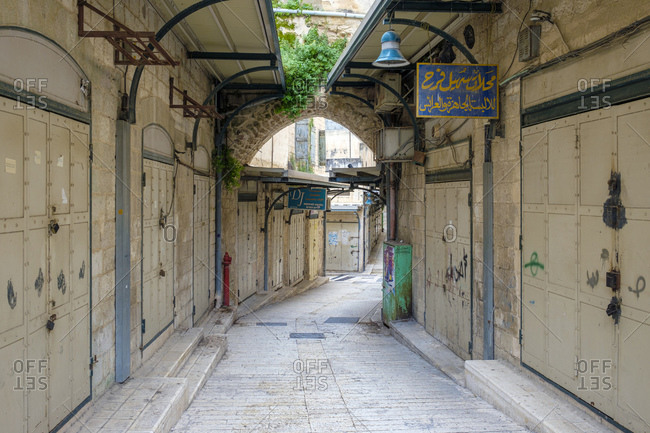 Israel, North District, Nazareth - April 21, 2019: Souks in the old town, Nazareth, North District, Israel.