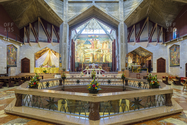 Israel, North District, Nazareth - April 21, 2019: Basilica of the Annunciation, Nazareth, North District, Israel.