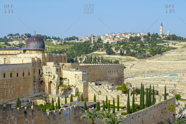 Israel, Jerusalem District, Jerusalem - April 26, 2019: Al-Aqsa Mosque on Temple Mount, Old City, Jerusalem, Israel.