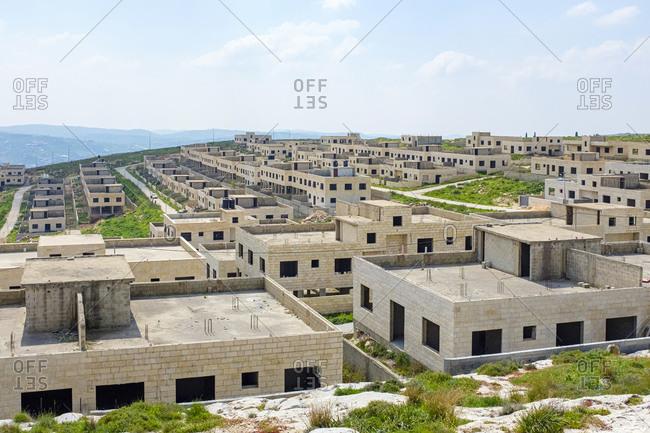 Unfinished housing project used for Israeli army training, near Nablus