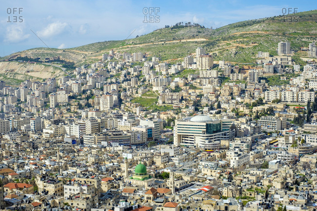 Palestine, West Bank, Nablus - March 24, 2019: High-angle view of Nablus City, Nablus, West Bank, Palestine