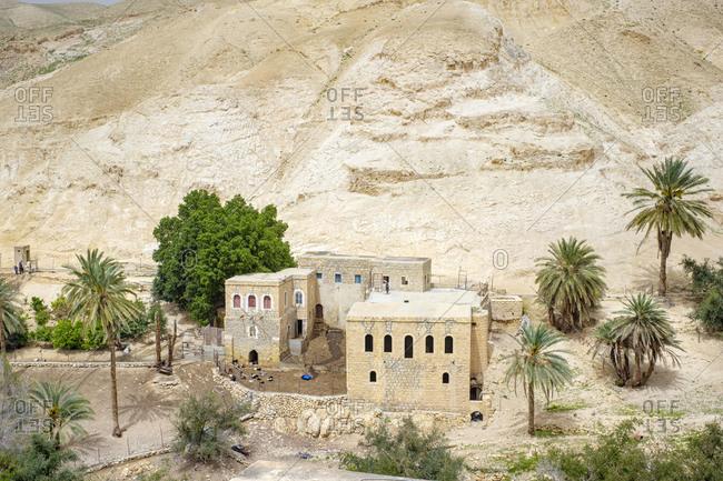 Houses near Ein Quelt spring, Wadi Quelt, Jericho, West Bank, Palestine