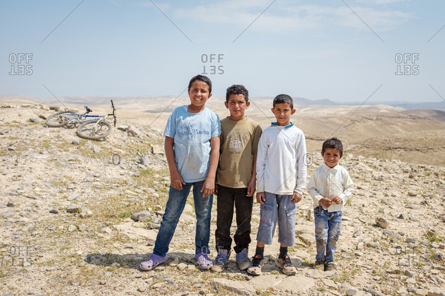 Palestine, West Bank, Arab ar Rashaydah - April 3, 2019: Bedouin children in Ar Rawlin village, near Arab ar Rashaydah, West Bank, Palestine