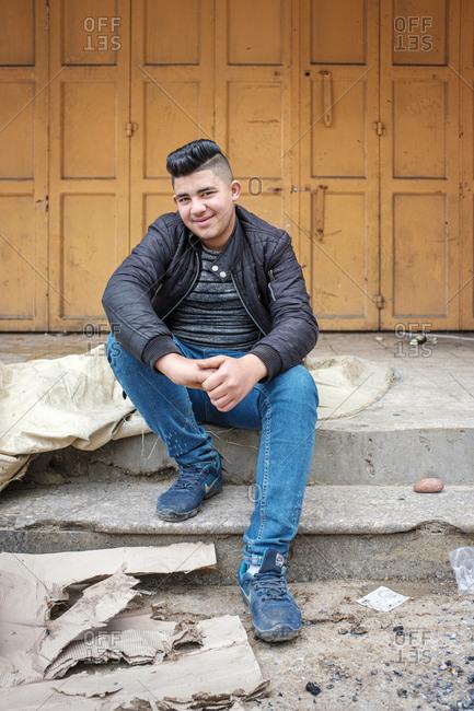 Palestine, West Bank, Hebron - April 5, 2019: Palestinian boy in Hebron (al-Khalil), West Bank, Palestine