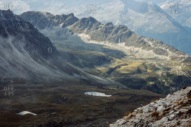 View of beautiful moody landscape in the Alps.